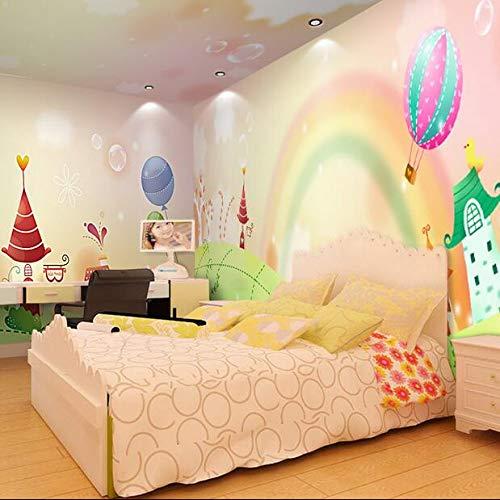 Kinderzimmer Tapete Mädchen Schlafzimmer Hintergrundbild Cartoon Fantasie rosa Regenbogen Tapete Mädchen Zimmer 3D Fresko, 200 × 150 cm
