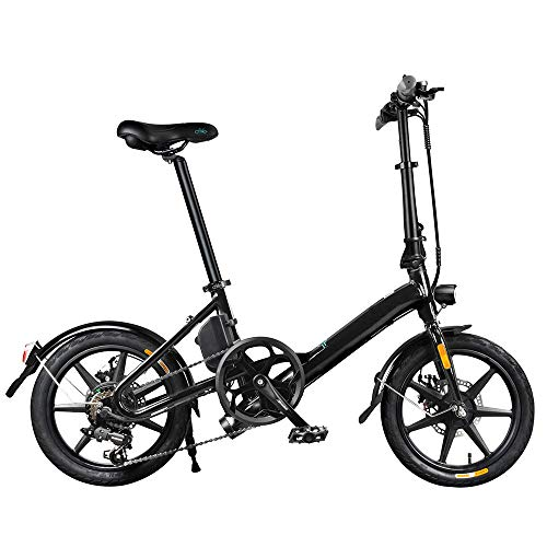 Coolautoparts Bicicleta Eléctrica Plegable 16 Pulgadas 250W 25km/h Bicicleta de Ciudad/Montaña Ciclomotor de 3 Niveles Bateria de Litio de Aluminio Display LED 3 Modos para Adultos [EU Stock]