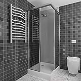 A+H Wandverkleidung - Kunststoffplatte als Duschrückwand für Dusche/Badewanne - Duschplatte/Duschwand mit Schutzfolie (200x100cm, hellgrau)