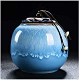 GCZZYMX Mini cremación funeraria Urna, Cerámica Artesanal de prueba de humedad Urna urnas para cenizas adulto Cenizas Pet Memorial humana entierro urna en casa o cementerio, Azul,Azul