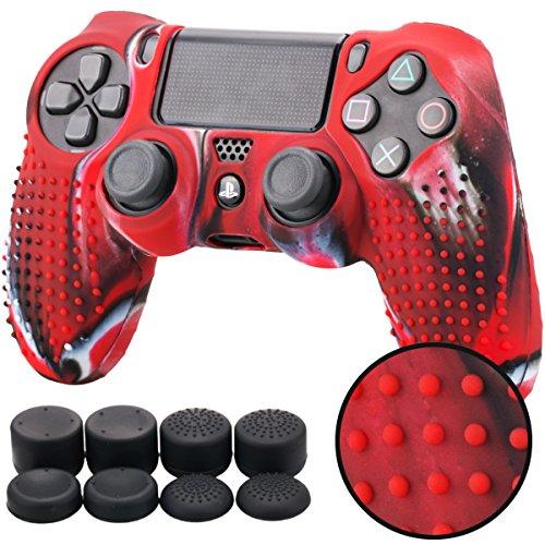 Pandaren® TACHONADO de Silicona Fundas Protectores de Piel Antideslizante para el PS4 Mando x 1 (Camuflaje Rojo) + FPS PRO Thumb Grip Pulgar Agarre x 8