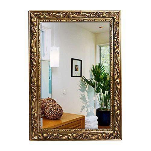 ZHAOJYZ Household Necessities/Café Pared de Bronce Espejo Europea de Madera Maciza Espejo de baño montado en la Pared de Espejo de tocador Espejo de baño Flotante Marco Regalo