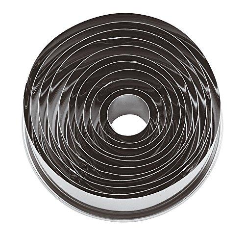 Paderno 47316-10 Tagliapasta ad anello – Set di 11 Coppapasta rotondi in acciaio inox, ideali in pasticceria e per impiattamenti creativi, 3 cm di altezza, diametro anelli da 2 cm ø a 9 cm ø