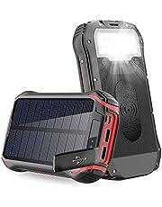 Slols 26800 mAH bärbar powerbank telefonladdare, trådlös laddare regntät tuff batteripaket med 3,1 A snabbladdande 4 utgångar 18 LED ficklampa karbinhake typ-C för mobiltelefon iPhone