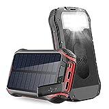 Batterie Externe 26800mAh Chargeur solaire,portable Power Bank chargeur QI sans fil étanche avec charge rapide 3.1A 4 sorties Mousqueton de lampe de poche 18 LED pour téléphone iPhone mobile,tablette