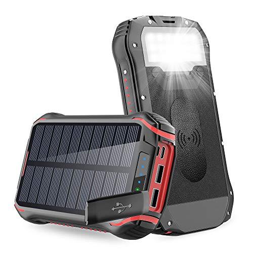 Batterie Externe 26800mAh Chargeur Solaire Portable QI Power Bank sans Fil 5W avec 3.1A Max 4 Sorties Charge Rapide Solaire Batterie,Lampe 18 LED et Crochet Universel pour iPhone Huawei Smartphone