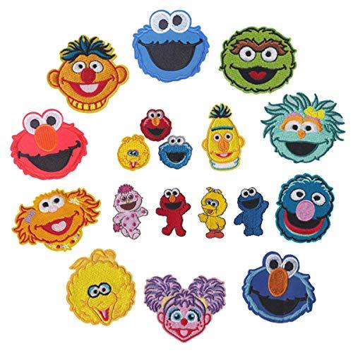 Meetlight Aufnäher zum Aufbügeln, bestickt Sesamstraße, Cartoon-Charaktere, Aufnäher, für Kleidung, Jacken, Rucksäcke, Jeans 18pcs