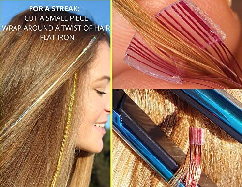 500 Bling String Sparkle Strands for very long hair in 12 colors on Tape-in Tinsel Extensions - Attach hundreds of stands in minutes! Shampoo & Heat style. lasts weeks! Extra two-sided tape to reuse!