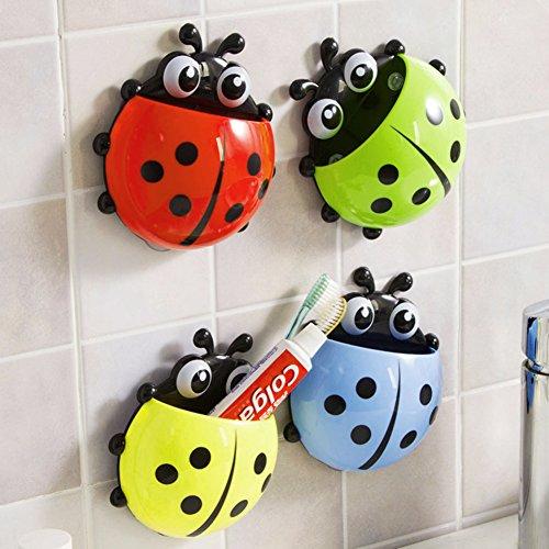Xligo Ceative Ladybug - Soporte para cepillo de dientes, cepillo giratorio para baño, ventosa para colgar, accesorios de baño