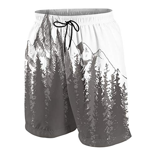Men's Personalized Swim Trunks,Mountain with Fir Forest and Native American Arrow Figure Folk Style Retro,Beachwear Swimsuits Board Shorts Bathing Suits