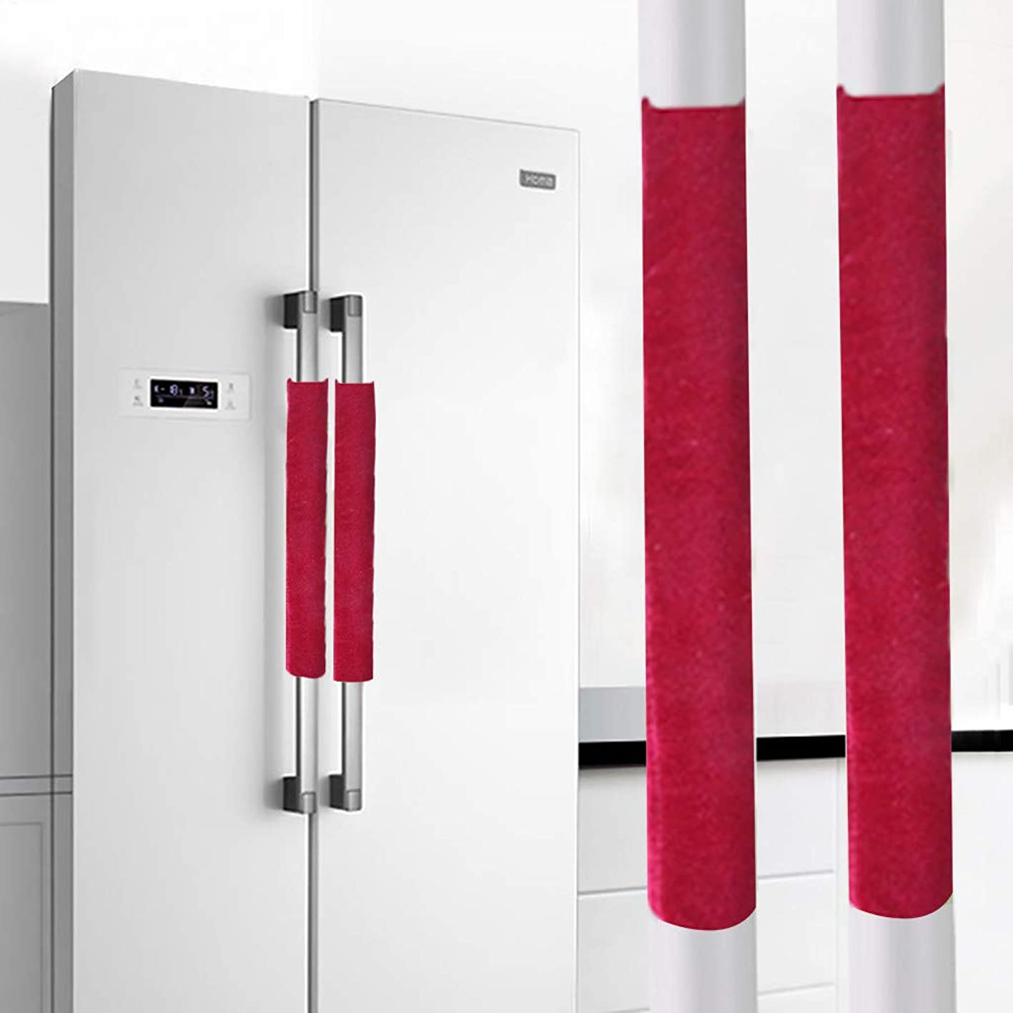 Wffo A Pair Refrigerator Handle Cover Kitchen Appliance Refrigerator Cover?Hotel Door Handle Gloves?Door Handle Gloves?8 Colors Optional (Red) ngyeryexrtt875