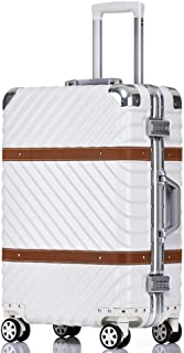 SMLCTY Cabin Luggage,Ultra-Lightweight And Durable Aluminum Frame Frosted Wear-Resistant Waterproof Suitcase 360° Mute Caster (Color : White, Size : 26 inch)