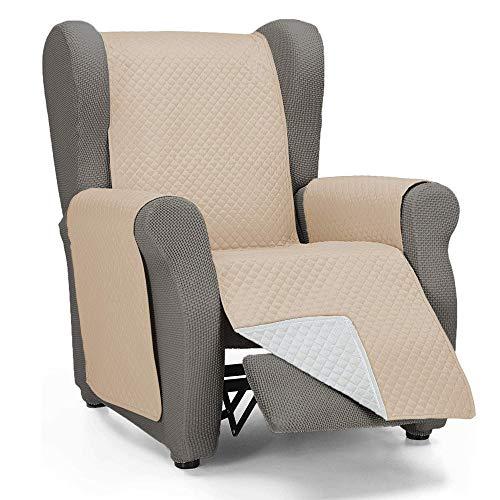 Domum Funda Cubre Sofá de 1 Plaza Relax. Fabricado en España. Funda de Sofá y Sillón Reversible y Acolchado. Protector para Sofá Reclinable. Funda para Butaca Orejera Color Beige