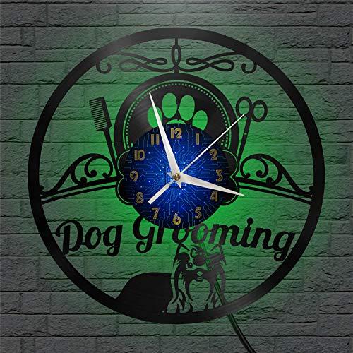 SZG Reloj de Pared de Vinilo para Aseo de Perros Reloj de Pared Arte Negro de 12'para Sala de Estar Dormitorio(B) con LED
