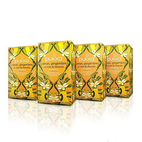 Pukka Infusion Bio Citron, Gingembre et Miel de Manuka Infusion Biologique et Ayurvédique, Issue du Commerce Equitable 80 Sachets (Lot de 4x20 Sachets)
