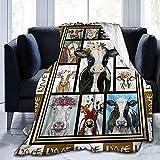 Couverture pondérée Couverture en Molleton de Flanelle-Cow Love Blanket Queen Size, couvertures Toutes Saisons Confortables et Chaudes pour canapé-lit ou Hommes femmes-noir-50 x 40'