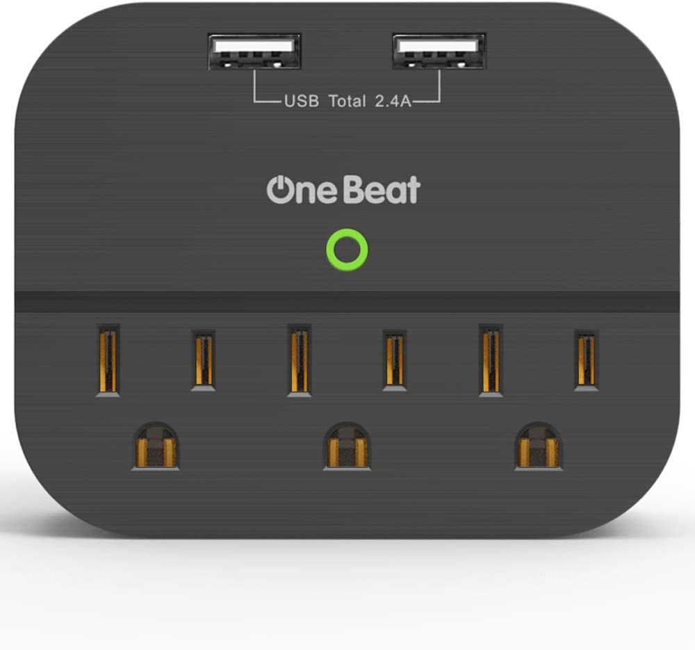 Outlet Adapter with USB, Multi Plug Wall Outlet with 3 Outlets 2 USB Ports 2.4A Total for Home Office Cruise Ship - Black