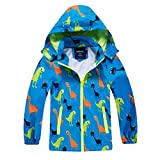 IjnUhb Waterproof Hooded Jacket for Boys Girls,Kids Raincoats Outdoor Windbreaker Dinosaur Rain Jacket (Blue,5T)