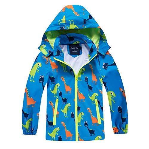 IjnUhb Waterproof Hooded Jacket for Boys Girls,Kids Raincoats Outdoor Windbreaker Dinosaur Rain Jacket (Blue,6T)