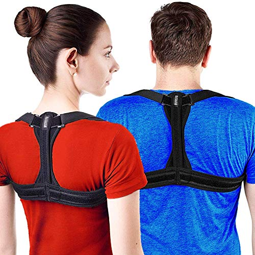 Modetro Sports Posture Corrector Spinal Support - Physical Therapy Posture Brace for Men or Women - Back, Shoulder, and Neck Pain Relief - Spinal Cord Posture Support Black Large (L) 45 - 53 in