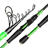 "Akataka J'Special Telescopic Fishing Rod - Retractable Baitcasting Rod with 24Ton Carbon Fiber,Durable Reel Seat (Spinning-Medium 7'1""-Green)"