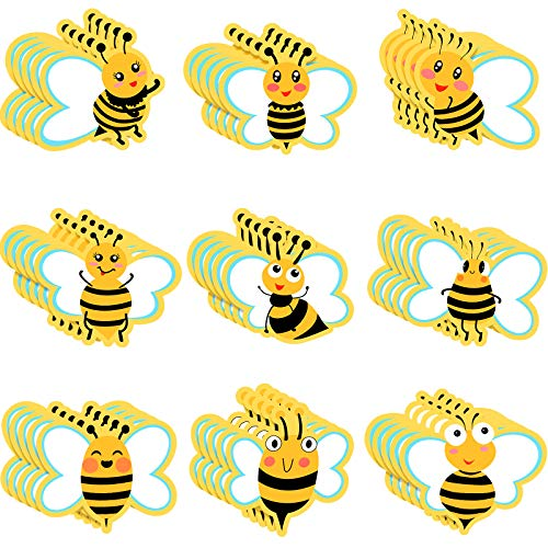 45 Pieces Bee Cutouts Cards Bee Shaped Paper-Cuts Cute Bee Theme Greeting Cut Outs with Glue Point Dots for Classroom Bulletin Board, Baby Shower Spring Party Decoration