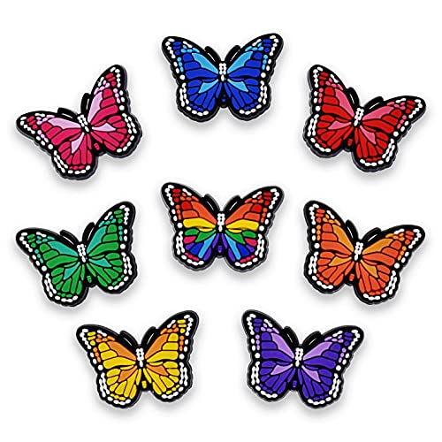 Gibleitz 8pcs Lovely Butterfly Shoe Charms Different Colors Cute PVC for Shoe Decrorations
