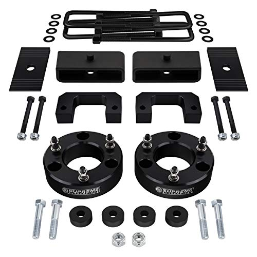 "Supreme Suspensions - Full Lift Kit for 2007-2018 Chevrolet Silverado 1500 3.5"" Front Lift Strut Spacers + 2"" Rear Lift Blocks + Square Bend U-Bolts + Differential Drop 4WD + Axle Alignment Shims"