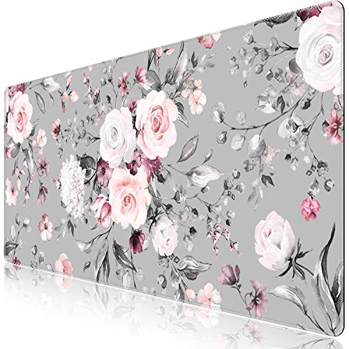 iCasso Extended Gaming Mouse Pad (35.4x15.7 in), Large Non-Slip Rubber Base Mousepad with Stitched Edges, Waterproof Keyboard Mouse Mat Desk Pad for Work, Game, Office, Home - Tea Rose - XXL