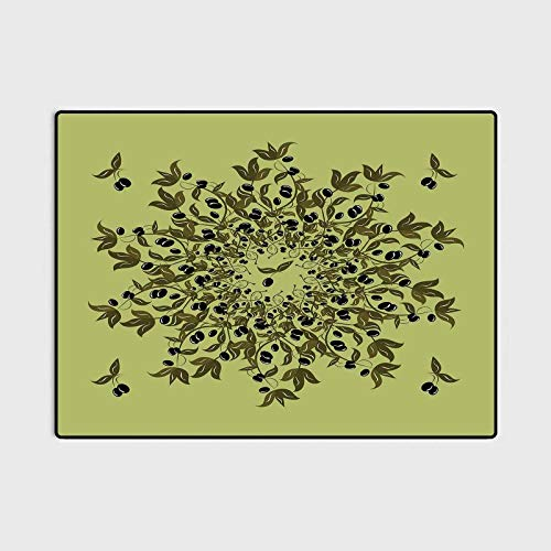Olive Green Outdoor Patio Rug Laundry Room Rug Branches of Olives Mediterranean Foliage Leaves and Fruit Office Chair mat for Carpet Pistachio and Olive Green Black 6.5 x 8 Ft