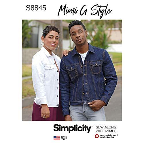Simplicity Schnittmuster S8845 Mimi G Jean Jacke, A (XS-S-M-L-XL)
