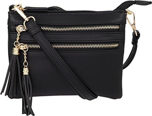 B BRENTANO Vegan Mini Multi-Zipper Crossbody Handbag Purse with Tassel Accents (Black.)