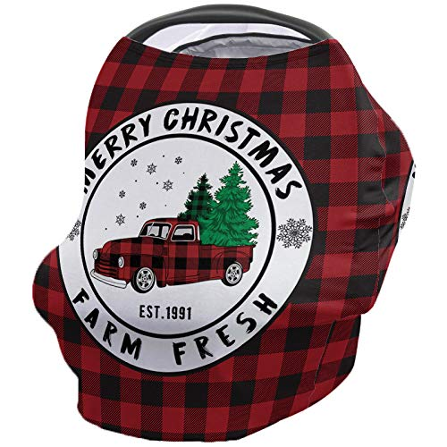 Infant Car Seat Cover Farm Fresh Christmas Tree Merry Christmas Truck Red Black Buffalo Check Background Stretchy Nursing Scarf, Car Seat Canopy, Shopping Cart Cover and High Chair Cover