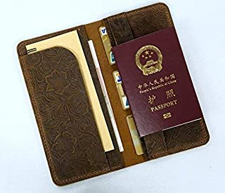 Women flower embossing leather travel long wallet boarding pass holder/travel passport wallets TW015S