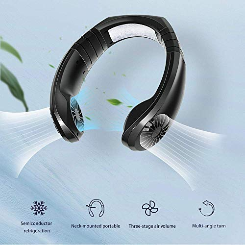 Hanging Neck Fan, Air Cooler USB Micro Portable 2 in 1 Air Cooler Mini Electric Air Conditioner Scarf Cooling Portable Hanging Neck Fan,Air Cooler, USB Hanging Neck Air Conditioner Black