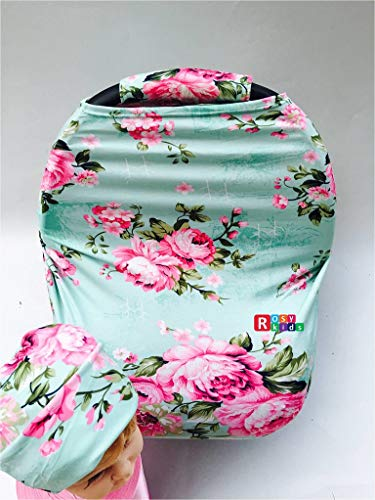 Rosy Kids Stretchy Infant Car Seat Canopy Cover, Jersey Car Seat Cover Elastic Nursing Scarf Privacy Cover with Matching Car Seat Handle Cover and Baby Hat, Color23DR19