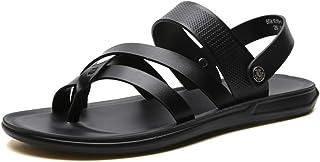 Fashion Sandals for Men Ringtoe Slipper Shoes Slip On Microfiber Leather Simple Dual Purpose Sandals Men's Boots (Color : Black, Size : 5.5 UK)