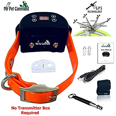 My Pet Command GPS Wireless Dog Fence System - Outdoor use Safe Pet Containment System -GPS Boundary, Easy Setup, Rechargeable Waterproof Collar, Bonus Training Whistle