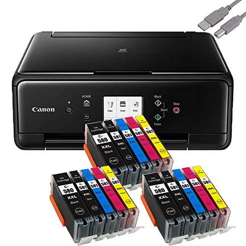 Bundle Canon PIXMA TS6250 inkjetprinter, multifunctioneel, zwart, met 15 comp. Youprint® inktpatronen voor PGI-580/CLI-581 XXL (printen, scannen, kopiëren)