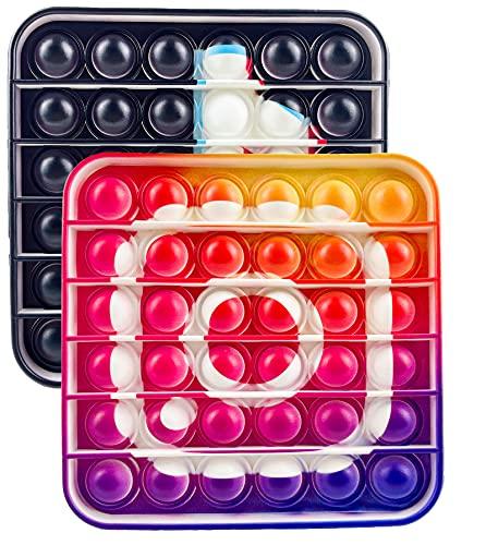 Push Pop Bubble Sensory Fidget Toy Juguete Inquieto TIK Tok Escudo de Capitán Juegos Sensoriales Estrujar Artilugio Regalo Estrés Ansiedad Alivio Silicona para El Autismo ADHD Necesidad Especial