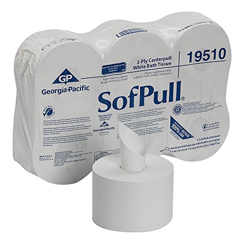 Georgia Pacific SofPull 19510 Centerpull 2-Ply High Capacity Toilet Paper, 1000 Sheets Per Roll, 6 Rolls Per Case, White