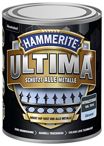 5379734 Hammerite ULTIMA Metallschutz Lack Rost 750ml Glänzend Anthrazitgrau RAL 7016