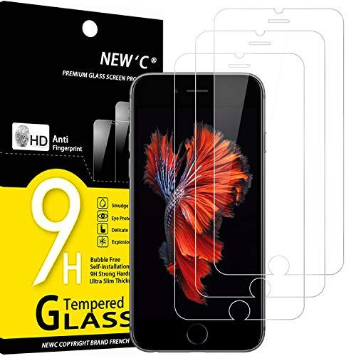 NEW'C Lot de 3, Verre Trempé Compatible avec iPhone 6 et iPhone 6S, Film Protection écran sans Bulles d'air Ultra Résistant (0,33mm HD Ultra Transparent) Dureté 9H Glass