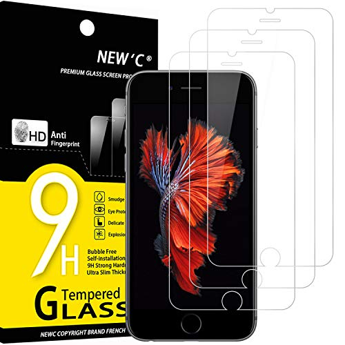 NEW'C 3 Unidades, Protector de Pantalla para iPhone 6, iPhone 6s, Antiarañazos, Antihuellas, Sin Burbujas, Dureza 9H, 0.33 mm Ultra Transparente, Vidrio Templado Ultra Resistente