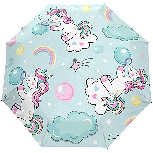 Leuke Dream Horse Rainbow Auto Open Paraplu Zonnescherm Zonnescherm Anti-UV Folding Compact Automatische paraplu