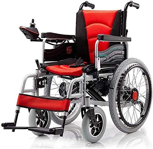 mjj Silla de ruedas plegable o manual (batería de ion de litio), portátil, fácil movilidad, función dual Power Chair para todas las superficies, naranja y rojo