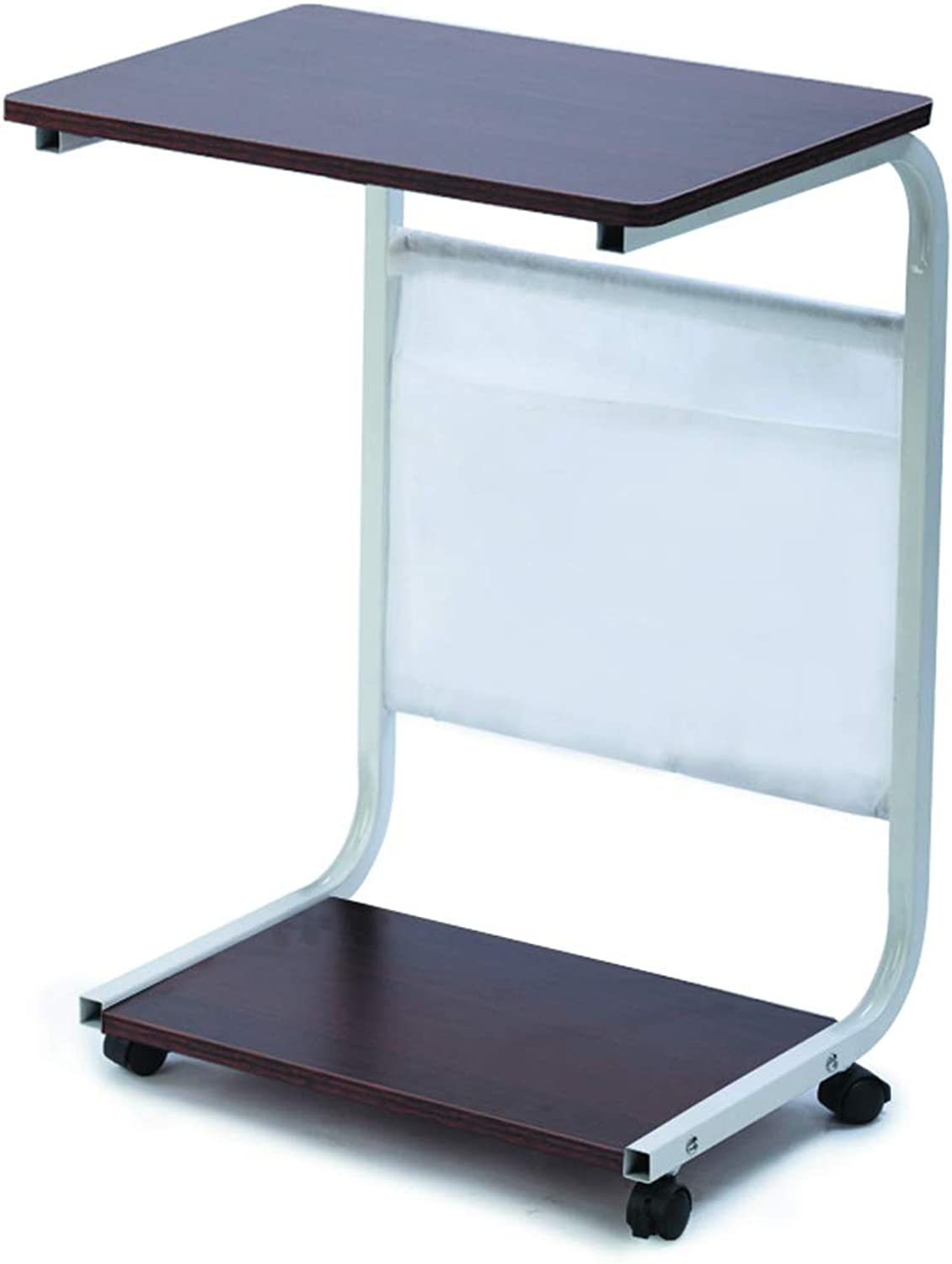 Computer Folding Table for Easy Movement C-Shaped Small Square Folding Table (White) (color   B)