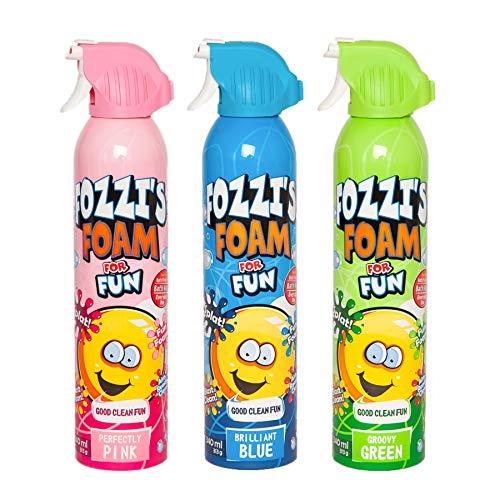 FOZZI's Bath Foam Aerosol for Kids, Brilliant Blue, Groovy Green & Perfectly Pink, Good Clean Fun, 340ml Each (Pack of 3)