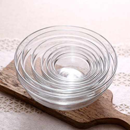 7 Pc Glass Bowl Set Nesting Bowl Mixing Bowls for Salad Rice Snack