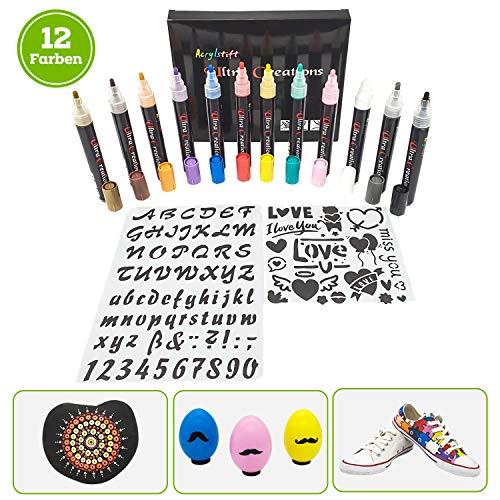 UltraCreations acrylstiften - 12 x acrylmarker voor kunst, scrapbooking, dagboek, Bullet Journal - 2 mm waterdichte, robuuste en sneldrogende markers - voor papier, steen, hout, stof & meer